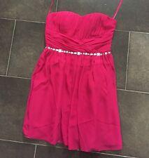 Cocktailkleid Abendkleid Partykleid Kurz Pink Strass Chiffon schulterfrei