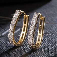 """Fashion Womens Yellow Gold Filled Clear Crystal """"U"""" Hoop Earring Jewelry"""