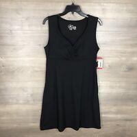 Gerry Women's Size Medium Sleeveless Fit Flare Dress Black V-Neck NEW
