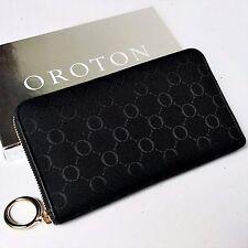 New OROTON Wallet Alpine Multi Pocket Zip Around Large Black Canvas Leather SALE