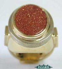 14K Yellow Gold Goldstone Designer Ring Size 5.5