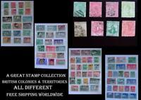 Stamp Collection British Colonies Tasmania Bermuda Victoria Trinidad SA NZ Kenya