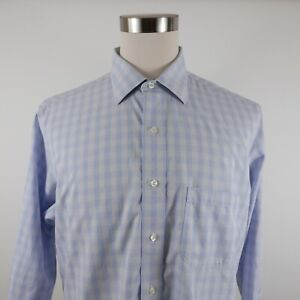 Brooks Brothers Mens Non Iron LS Button Up Light Blue Checkered Shirt No Tag L?