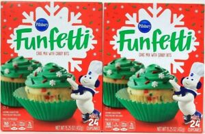 2 Boxes Pillsbury 15.25 Oz Funfetti Cake Mix With Candy Bits Makes 24 Cupcakes