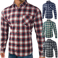 Mens Flannel Shirt Brushed Cotton Long Sleeve Check Lumberjack Plus Size S - 4XL