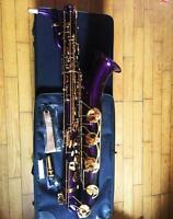 Professional Purple Baritone saxophone Bari Sax With Case Mouthpiece