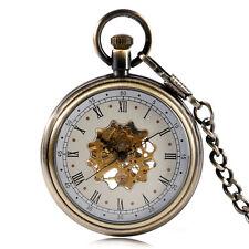 Vintage Men's Mechanical Flower Skeleton Roman Numerals Pocket Watch Pendant