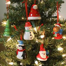6 Piece Ceramic Tree Baubles Christmas Character Decorations Santa Hat Reindeer