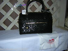 COACH 26438  Poppy Signature Sequin East West Satchel Bag Black , NWT, PLUS COIN