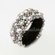Freshwater Pearl Bangle Bracelet White