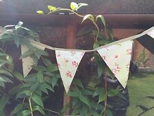 Outdoor Cottage Garden PVC Oilcloth Bunting Green Floral Rose Shabby Chic