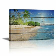 "Canvas - Tropical Beach with Palm Tree on Vintage Wood Background- 16"" x 24"""