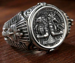 Mens Stainless Steel Horus Anubis Wanderer Ancient Egyptian personality Ring