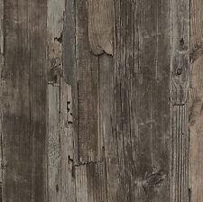 French Provincial Rustic Timber Wood Effect Wallpaper in Dark Grey/Brown - 10M