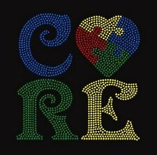 Cure Autism Awareness Ribbon Rhinestone Iron on Transfer            RX03