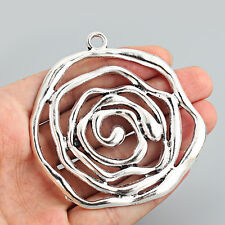 2 x Large Tibetan Silver Open Spiral Charms Pendants for Jewellery Making