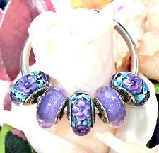 5 Pandora Silver 925 Murano Teal Purple Roses Flower Blossom  Beads Charm