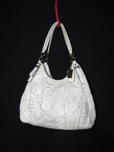 Coach Madison Maggie Signature Laser Cut Leather Shoulder Bag 17006 Ivory VGC