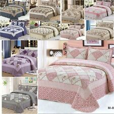 3 Pieces PatchWork Bedspread Fit Size Double&King Quilted Bed Spread New Range