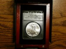 2013 Silver Eagle ANACS MS70 First Day of Issue in Wood Box