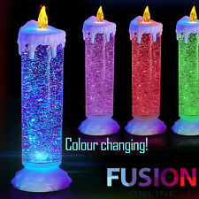 Led Candle Colour Changing Flickering Light Up Glitter Ornament Xmas Decoration