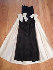 Vtg GUNNE SAX EVENING GOWN Black & Ivory SATIN Starlet Hollywood Glam WIGGLE 7