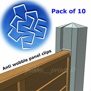 Fence panel anti wobble knocking clips brackets wedges for concrete slotted post