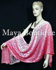 Maya Matazaro Hand Dyed Coral Pink Camellia Shawl Wrap Scarf Burnout Velvet USA