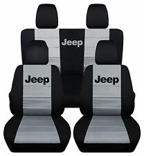 Front & Rear Black and Silver Jeep Seat Covers 2 Door Jeep Wrangler 2011-2016