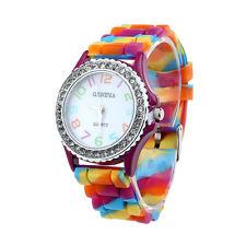 New Women's Silicone Band Crystal Bling Analog Digital Quartz Wrist Watch