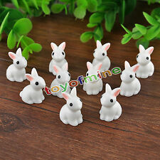 New Cute 10x Mini Rabbits Fairy Garden Terrarium Figurine Decor Bonsai Craft