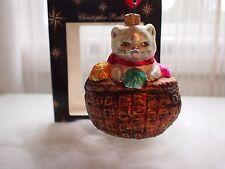 Christopher Radko Kitten Ornament Christmas Xmas Knitting Basket Yarn Rare B1797