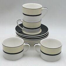 More details for 4 x  manhattan cup & saucer - cream white black - m&s