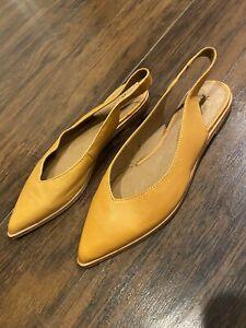 Frye Womens Kenzie Mustard Slingbacks Size 9 (1510650)