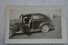Vintage Car Photo Woman in 1940 Ford Tudor 846