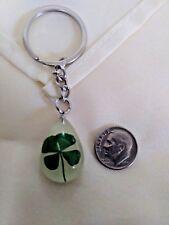 Real Four Leaf Glow in the Dark Key Ring/Key Chain 4 Leaf Clover Shamrock Irish