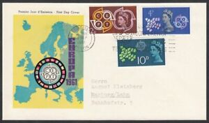 Great Britain, 1961 Europa Illustrated FDC. Scarce GERMAN Cachet. TORQUAY Slogan