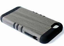 For iPhone 5C - HARD&SOFT RUBBER HYBRID ARMOR SKIN CASE GRAY WOOD OAK TREE BLACK