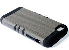 For iPhone 5C - HARD&SOFT RUBBER HYBRID ARMOR SKIN CASE GRAY WOOD OAK TREE BLACK