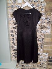 Laura Ashley dark brown silk knee length dress, fitted top A shaped skirt 10