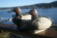 2-Canvasback Drake duck decoys hand made by R. Saylor, Florence, Or., Mathewson