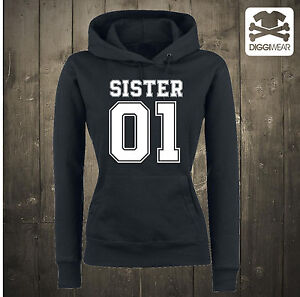 SISTER 01 BEST FRIENDS FREUNDIN CHILLIGER COUPLE HOODIE KAPUZENPULLOVER S-XXL