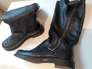 Women's ALDO black buckle zip calf length leather boots shoes UK 6 39