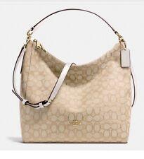Coach F58327 Celeste White And Khaki Signature Jacquard Hobo Purse Handbag NWT