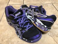 Asics Womens GEL 114OV Size 9.5 Lace Up Black Purple Gum Bottom Shoes