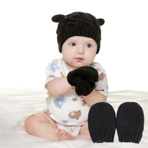 Baby Hat Unisex Hat And Gloves Set Cute Shape Small Ear Knitted Hat winter