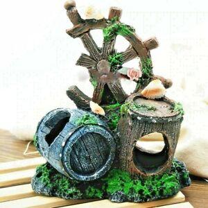 Wheel Barrel Aquarium Resin Sculpture Figurine Ornament Home Office Decoration S