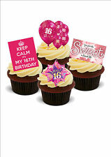 16TH BIRTHDAY MIX 12 STANDUPS Edible Cake Toppers Girls Female Sweet Sixteen
