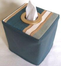 Nueva cubierta de la Caja de Tejido tela tradicional con rayas/Verde Con Ojales De Bronce