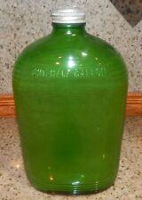 VINTAGE GREEN GLASS REFRIGERATOR WATER BOTTLE CANTEEN W/ CAP 1/2 GALLON RIDGED